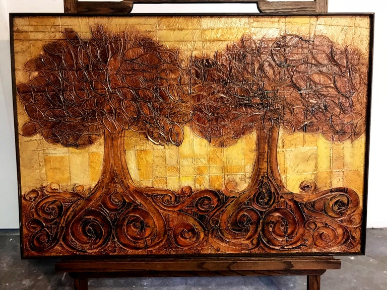 Mid-Century Modern Large Organic Painting of Trees For Sale
