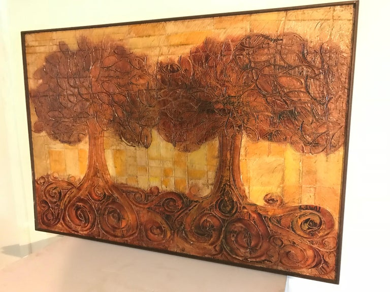 American Large Organic Painting of Trees For Sale