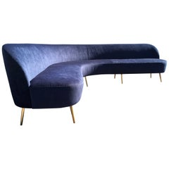 Large Organic Sofa in the Style of Gio Ponti, Brass and Dark Blue Fabric