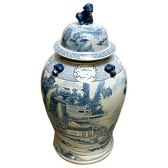 Large Oriental Blue and White Temple Jar