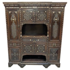 Large Oriental-Style Sideboard in carved Wood, with Mother-of-Pearl Inlay, 1880