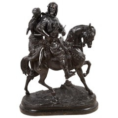 Large Orientalist Bronze Arab and Women on Horse Back, 'Guillemin'