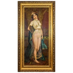 Large Orientalist Painting of a Beautiful Half Nude Odalisque