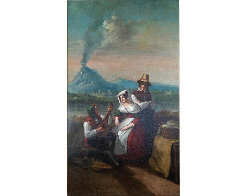 Offered is this delightful original 19th century oil painting signed Ignazio Sarti (Italian, 1790-1854) titled View of Naples. The painting features a musician entertaining a couple by playing a mandolin at a picnic near a lake with the City of