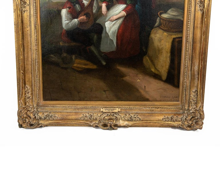 Country Large Original Antique 19th Century Oil Painting in Gilt Frame For Sale