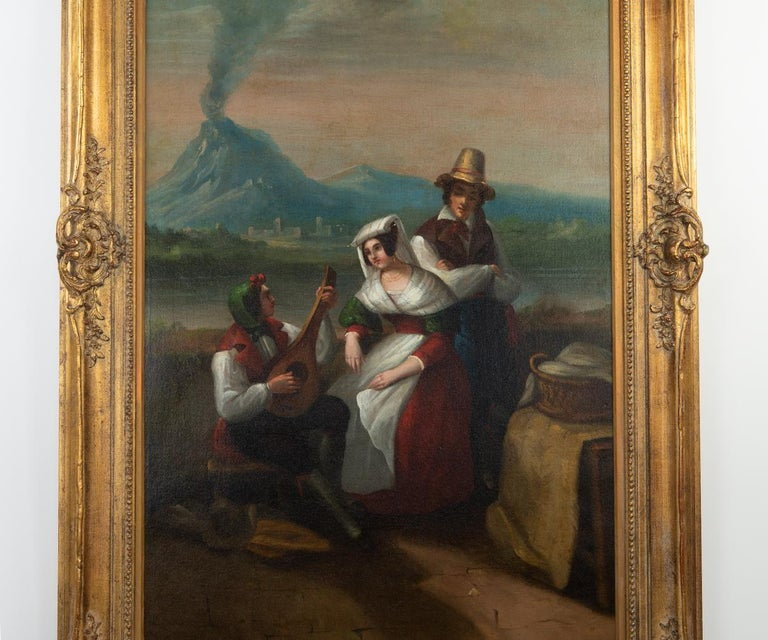 Italian Large Original Antique 19th Century Oil Painting in Gilt Frame For Sale