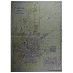 Large Original Antique City Plan of Indianapolis, USA, circa 1900