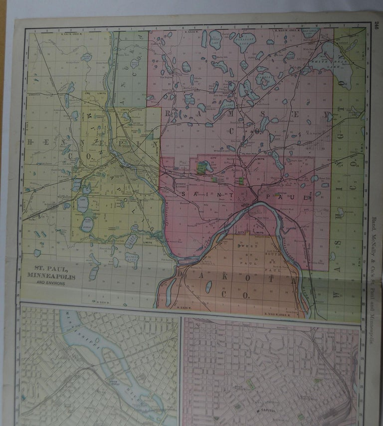 Large Original Antique City Plan of Minneapolis and St Paul, USA, circa 1900 In Good Condition In St Annes, Lancashire