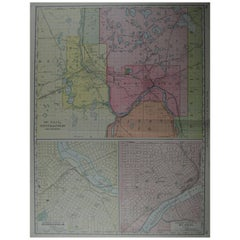 Large Original Antique City Plan of Minneapolis and St Paul, USA, circa 1900