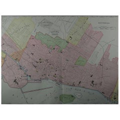 Large Original Antique City Plan of Montreal, Canada, circa 1900