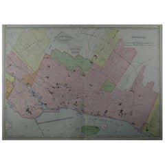 Large Original Antique City Plan of Montreal, Canada, circa 1900