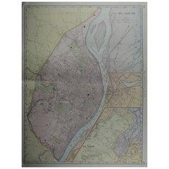 Large Original Antique City Plan of St Louis, USA, circa 1900
