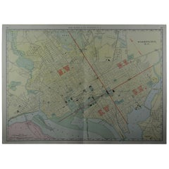 Large Original Antique City Plan of Washington DC, USA, circa 1900