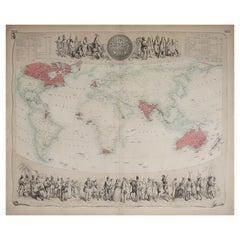 Large Original Antique Decorative Map of The World, Fullarton, C.1870