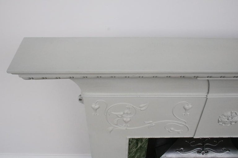 Large Original Antique Edwardian Art Nouveau Cast Iron Combination Fireplace For Sale 6