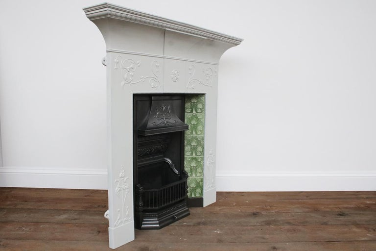Large Original Antique Edwardian Art Nouveau Cast Iron Combination Fireplace In Good Condition For Sale In Manchester, GB