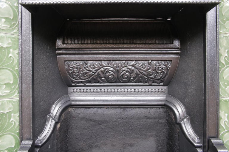 Large Original Antique Edwardian Art Nouveau Cast Iron Combination Fireplace For Sale 1