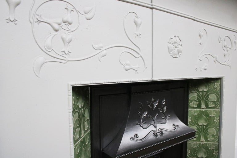 Large Original Antique Edwardian Art Nouveau Cast Iron Combination Fireplace For Sale 3