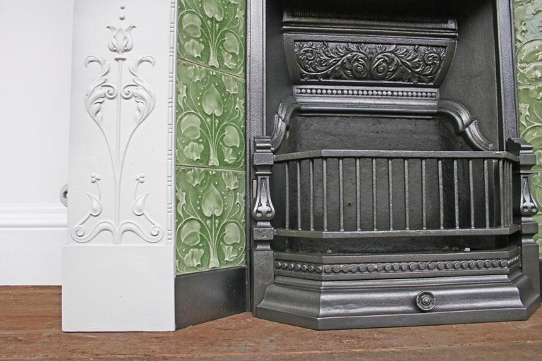 Large Original Antique Edwardian Art Nouveau Cast Iron Combination Fireplace For Sale 4