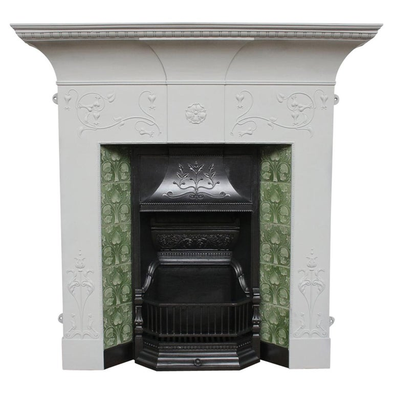 Large Original Antique Edwardian Art Nouveau Cast Iron Combination Fireplace For Sale
