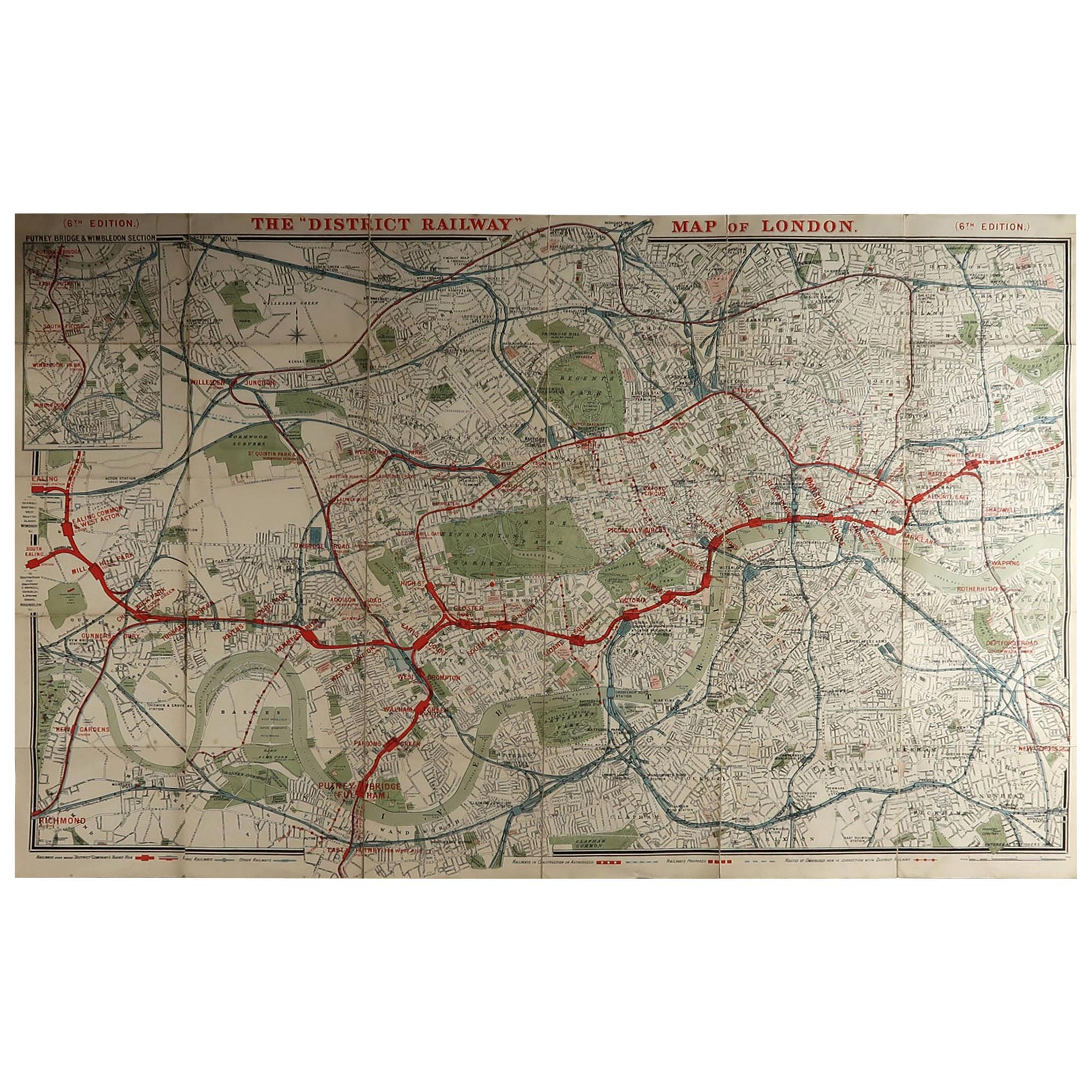 Large Original Antique Folding Map of London, UK, Dated 1898