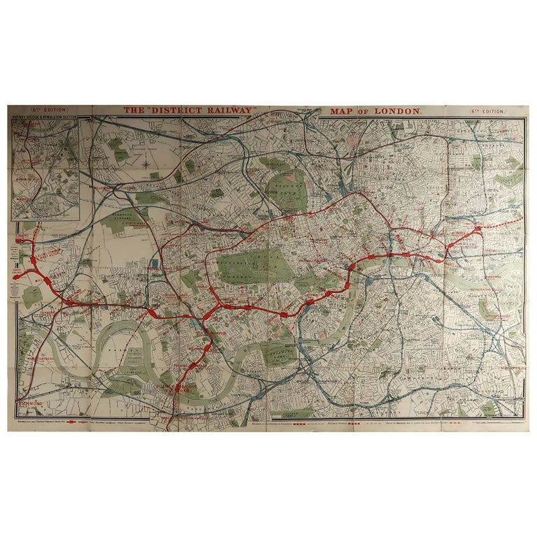 Large Original Antique Folding Map of London, UK, Dated 1898 For Sale