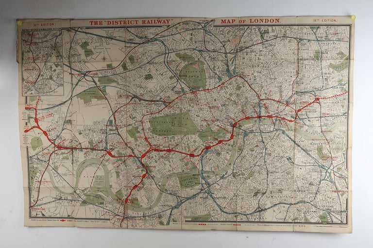 Victorian Large Original Antique Folding Map of London, UK, Dated 1898