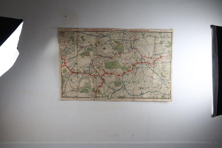English Large Original Antique Folding Map of London, UK, Dated 1898 For Sale