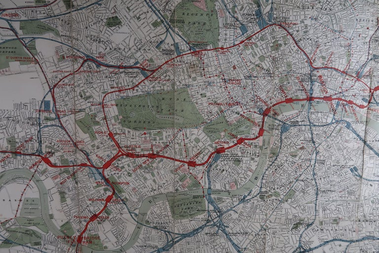 Late 19th Century Large Original Antique Folding Map of London, UK, Dated 1898 For Sale