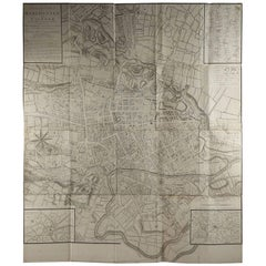 Large Original Antique Folding Map of Manchester, UK, Dated 1793