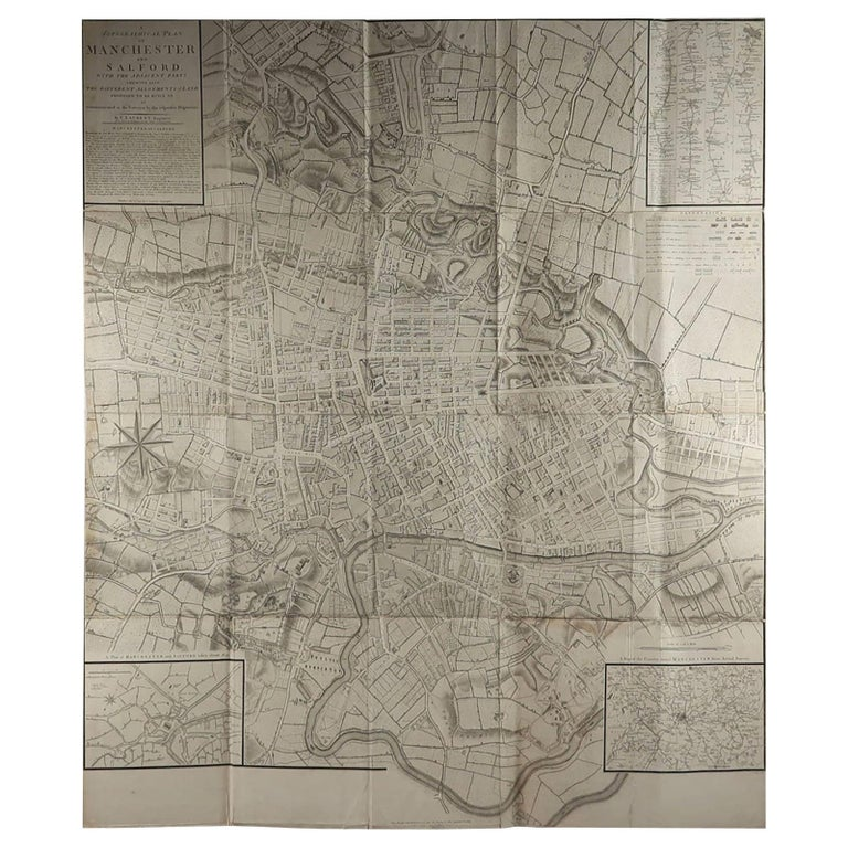 Large Original Antique Folding Map of Manchester, UK, Dated 1793 For Sale
