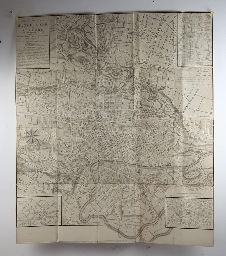 Georgian Large Original Antique Folding Map of Manchester, UK, Dated 1793 For Sale