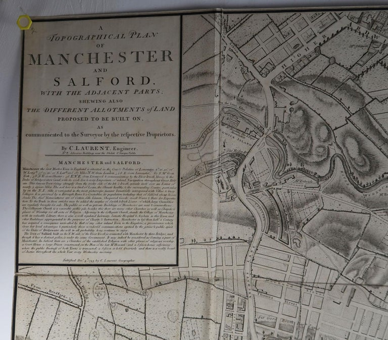English Large Original Antique Folding Map of Manchester, UK, Dated 1793 For Sale