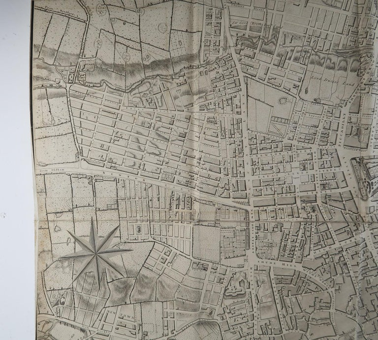 Other Large Original Antique Folding Map of Manchester, UK, Dated 1793 For Sale
