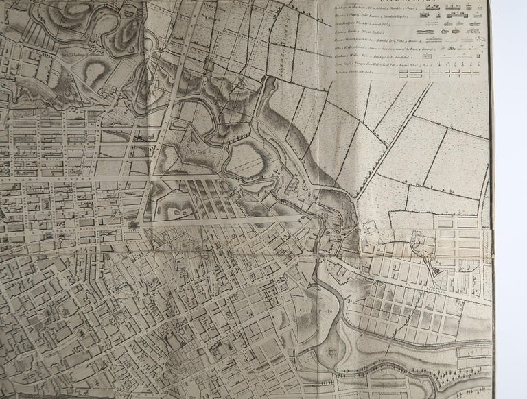 Large Original Antique Folding Map of Manchester, UK, Dated 1793 In Good Condition For Sale In St Annes, Lancashire
