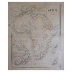 Large Original Antique Map of Africa, Fullarton, C.1870