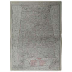 Large Original Antique Map of Alabama by Rand McNally, circa 1900