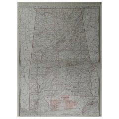 Large Original Antique Map of Alabama by Rand McNally, circa 1900
