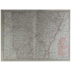 Large Original Antique Map of Arkansas by Rand McNally, circa 1900