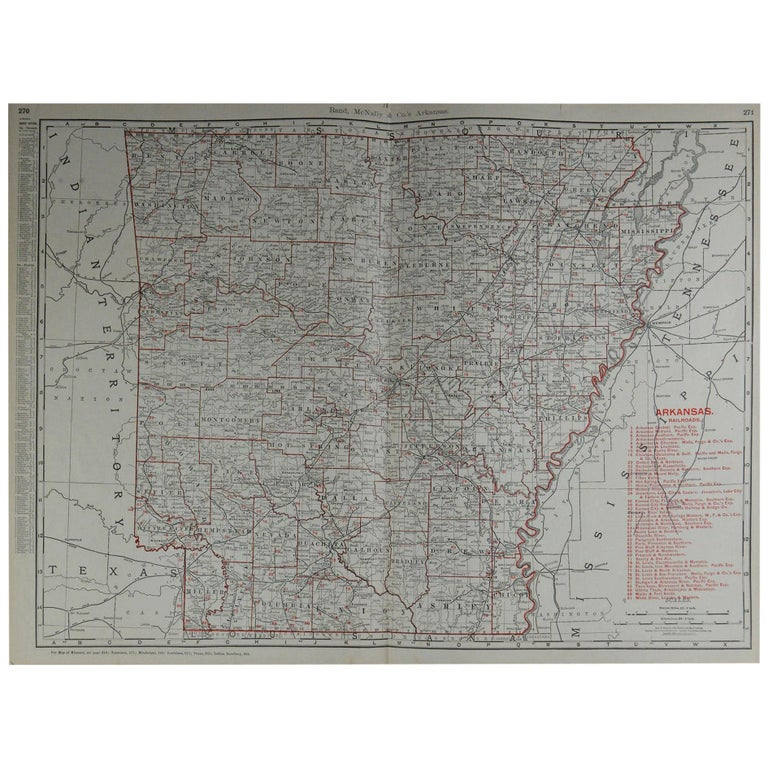 Large Original Antique Map of Arkansas by Rand McNally, circa 1900 For Sale