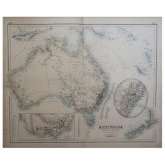 Large Original Antique Map of Australia, Fullarton, C.1870