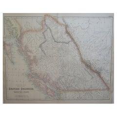 Large Original Antique Map of British Columbia & Vancouver, Fullarton, C.1870