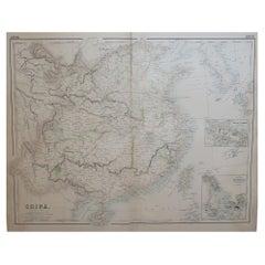 Large Original Antique Map of China, Fullarton, C.1870
