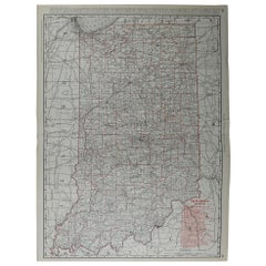 Large Original Antique Map of Indiana by Rand McNally, circa 1900