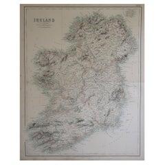 Large Original Antique Map of Ireland, Fullarton, C.1870