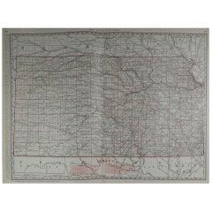 Large Original Antique Map of Kansas by Rand McNally, circa 1900