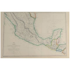 Large Original Antique Map of Mexico, 1861
