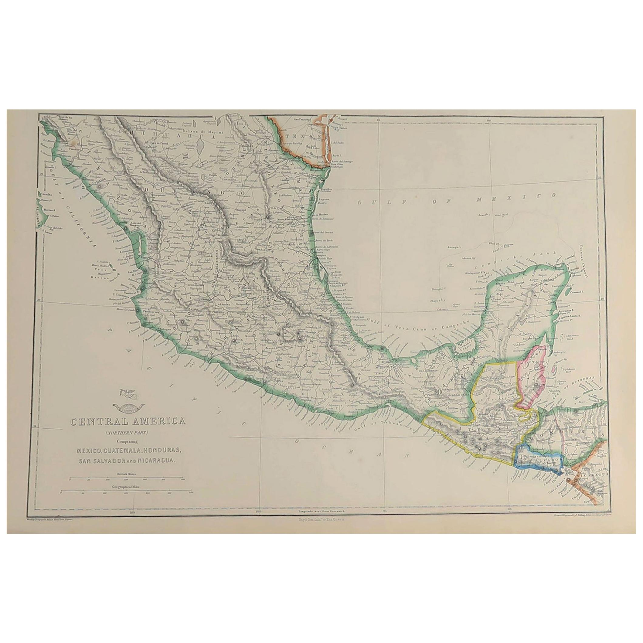 Large Original Antique Map of Mexico, 1861