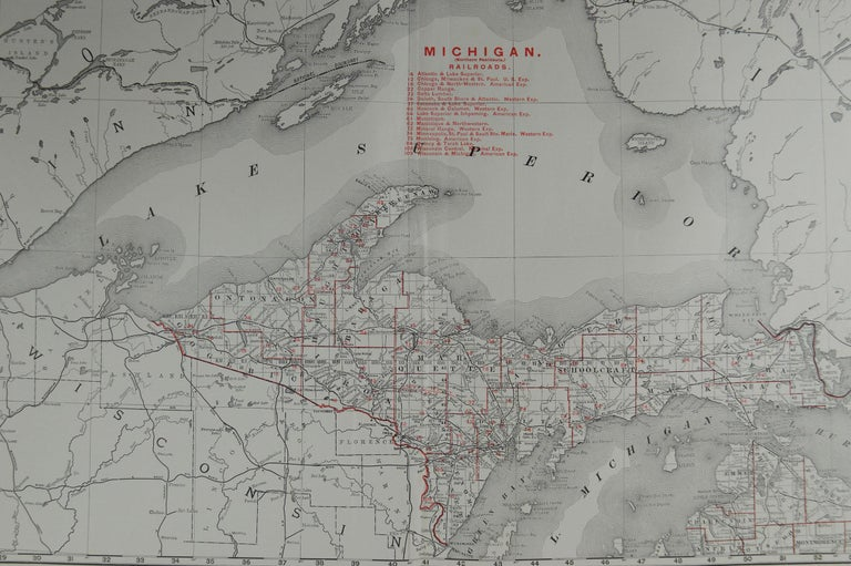 American Large Original Antique Map of Michigan by Rand McNally, circa 1900 For Sale