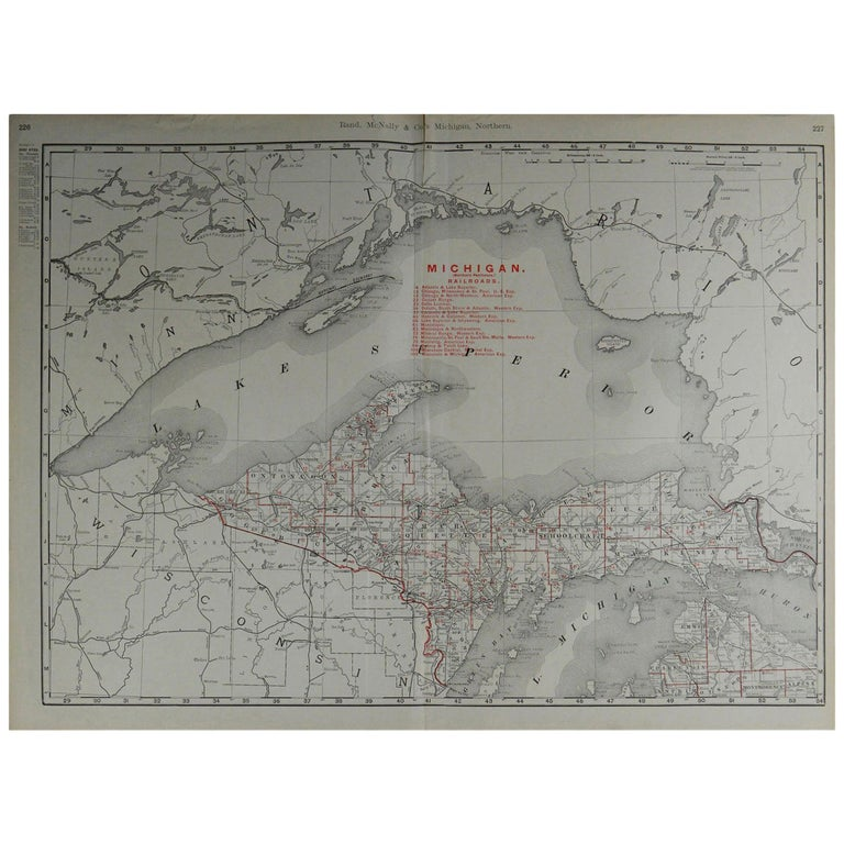 Large Original Antique Map of Michigan by Rand McNally, circa 1900 For Sale